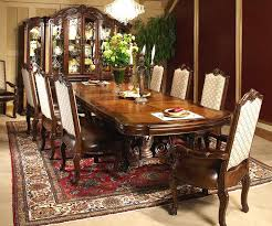 Elegant Victorian Dining Room Decor Ideas Showing Brown Varnished Wooden Table And High Back Chairs On Classic Rug Plus Classy Display Cabinet