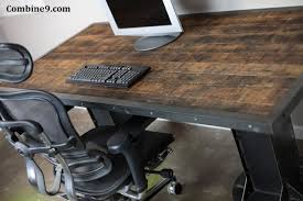 Reclaimed Wood Desk Top Office Furniture Modern Custom Custom Made Electric Sit Stand Desk Vintage Industrial Table Steel
