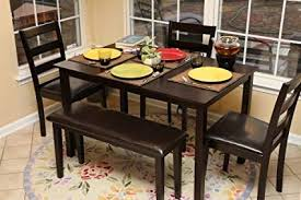 LIFE Home Life 5pc Dining Dinette Table Chairs Bench Set Espresso Finish 150236