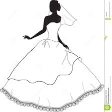Wedding Dress clipart black and white 4