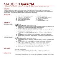 resume for receptionist exol gbabogados co