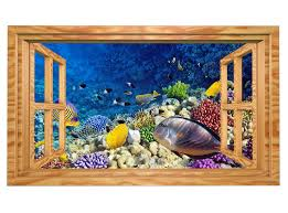 3d wandtattoo unterwasser welt korallen fische fenster selbstklebend wandbild sticker wohnzimmer wand aufkleber 11h891 3dwandtattoo24 de