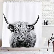 ambsunny bullen duschvorhang porträt einer hochlandkuh tierwelt lustig niedliches skizzenmotiv stoff badezimmer deko set mit 12 haken 152 4 x