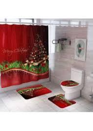 4 stück duschvorhang und badematten sets weihnachten