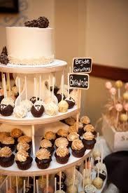 Rustic wedding cake pop and cupcake tower
