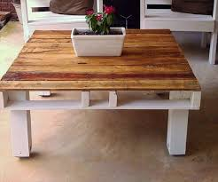 Pallet Rustic Coffee Table With White Painted Base