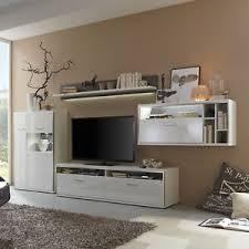 details zu wohnwand anbauwand wohnzimmer set trento 1 weiß hochglanz und grau 3d optik