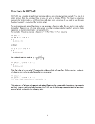 MATLAB Has A Number Of Predefined Functions And You Can Write Any Function Yourself