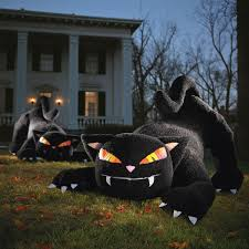 Halloween Blow Up Decorations by Giant Inflatable Furry Black Cat The Green Head