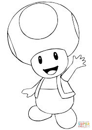 Toad Coloring Pages Mario Bros Page Free Printable For Kids
