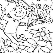 Spring Kid Chasing Butterfly On Springtime Coloring Sheet