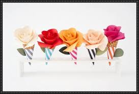 Paper Craft Ice Cream Flower Cone Bouquets Template And Tutorial