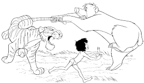 Jungle Book Shere Khan Fighting With Baloo And Mowgli Coloring Animals Pages Printable