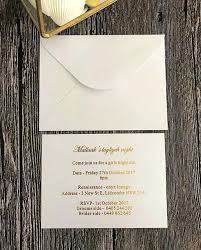 Fresh Simple White Wedding Invitations Or Flat Card Gold Foil With Envelope