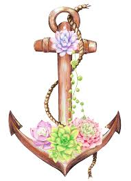 Anchor Clipart Flower Watercolor Tatoo Png Free