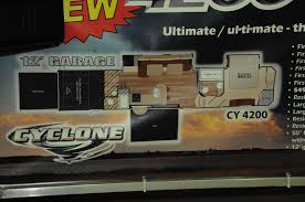 5th Wheel Toy Hauler Floor Plans by Cyclone 4200 Toy Hauler 2 Patio 2 Bath Cyclone Toy Hauler
