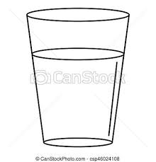 Glass Water Icon Outline Style Stock Illustration