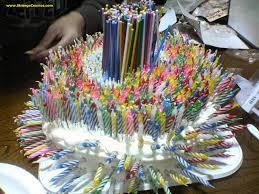 STRANGE BIRTHDAY CAKE COVERED WITH CANDLES