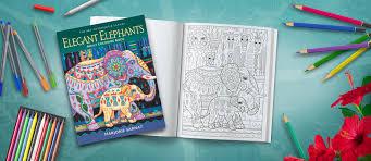 Elegant Elephants Adult Coloring Book