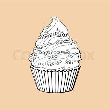 Black and white hand drawn cupcake with perfect cream swirls and sprinkles sketch style vector illustration isolated on color background