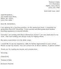 Elementary Teacher Cover Letter Examples