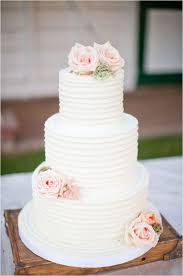 Rustic White Wedding Cake With Blush Roses