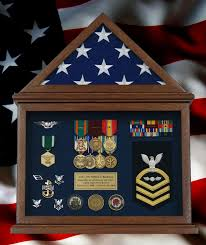 Retirement Flag Display Case With A US And Navy Memorabilia