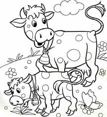 Animals And Their Babies Coloring Pages Cow