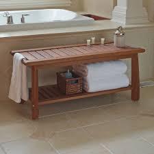 Bathroom Bench Ideas The Eucalyptus Bathroom Bench Hammacher Schlemmer