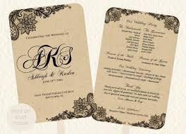 Wedding Fan Program Template Lace Kraft Rustic Style Print On Or Colored Paper Vintage DIY