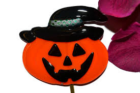 Halloween Witch Yard Stakes by Jack O Lantern Plant Stake Fused Glass Pumpkin Garden Stake