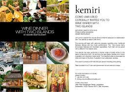 100 Uma Como Bali Two Islands And Australia Wine Dinner At Kemiri Restaurant
