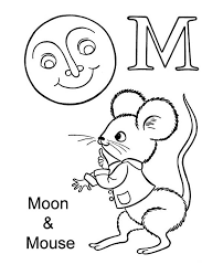 M Letter For Moon And Mouse Coloring Page