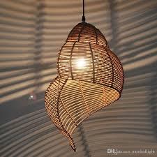 großhandel bambus weberei deckenleuchte holz droplight conch pendelleuchte led pendelleuchte schlafzimmer kronleuchter wohnzimmer esszimmer korridor
