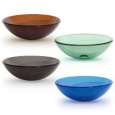 tempered glass vessel bathroom vanity sink round bowl gray color