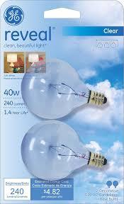 ge lighting 48704 40 watt reveal candelabra globe g16 5 2 pack