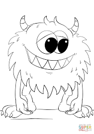 Monsters Coloring Pages Cute Cartoon Monster Page Free Printable Book