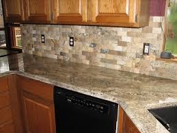 Subway Stone Backsplash With Unfinished Kitchen Cabinet Set Also Marble Countertop And Undermount Sink Design Natural Decor