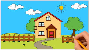 100 House In Nature How To Draw A In A Beautiful Coloring Book Page And Drawing Learn Colors For Kids