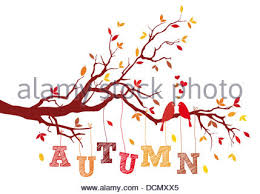 birds on autumn tree branch with falling leaves vector background illustration Stock
