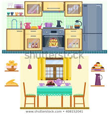 Set Of Kitchen And Dining Room Interior With Utensils Appliances Furniture Stove