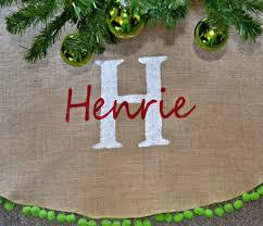 Tree Skirt Christmas Natural Burlap Green Pom Fringe