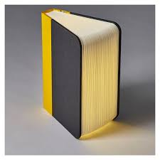 Exclusive Lumio Book Lamp Classic Fabric Yellow & Grey The