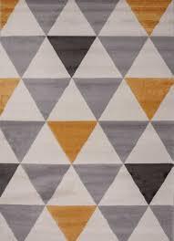 teppich wohnzimmer schlafzimmer flur teppich dreiecksmuster gelb