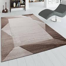 wohnzimmer teppich mit bordüre und 3 d effekt kurzflor teppich in beige braun
