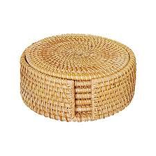 natürliche woven rattan tischsets bahn kit für tisch wärme beständig matte mit lagerung caddy 10cm modern untersetzer solide 3 größen