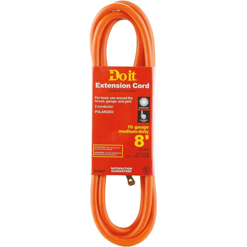 "Do It Best Extension Cord - 8"", Orange"