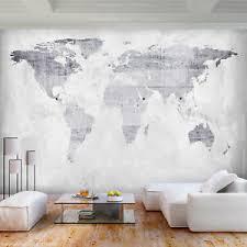 details zu vlies fototapete stein beton weltkarte grau tapete wohnzimmer wandbilder