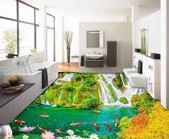 benutzerdefinierte foto wasserfall neun fisch boden tapete moderne 3d bodenbelag wohnzimmer 3d pvc boden bad home decor