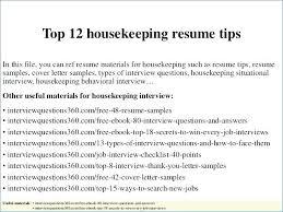 Head Housekeeper Cv Template Sample Resume For Housekeeping Job In Hotel